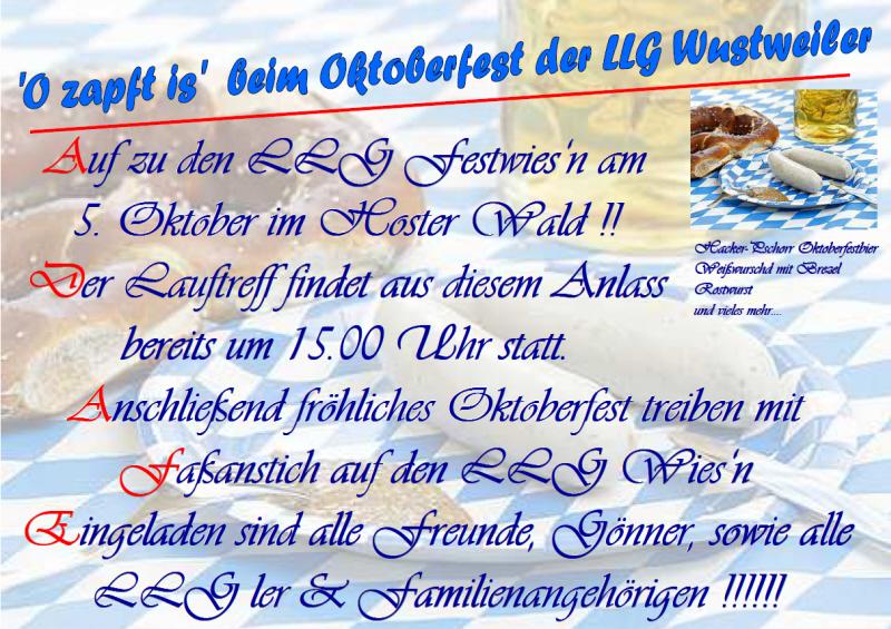 einladung zum oktoberfest der llg - llg wustweiler - mein verein, Einladung